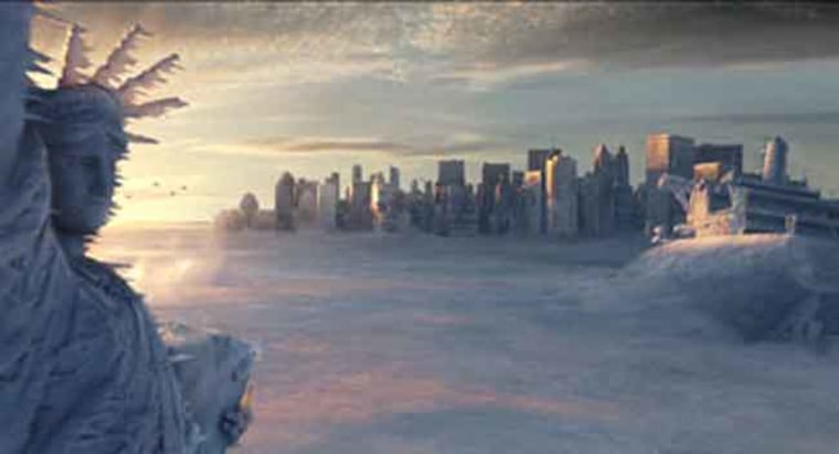 """A scene from the """"The Day After Tomorrow,"""" in which Earth undergoes sudden and dramatic climate shifts. It was all good fiction when the film came out in 2004, but now scientists are finding eerie truths to the possibilities of sudden temperature swings."""